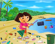 Ecofreak Dora cleaning beach Dorás játékok